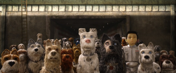 "(From L-R): Bill Murray as ""Boss,"" Jeff Goldblum as ""Duke,"" Edward Norton as ""Rex,"" Bob Balaban as ""King,"" Liev Shreiber as ""Spots,"" Harvey Keitel as ""Gondo,"" Koyu Rankin as ""Atari Kobayashi"" and Bryan Cranston as ""Chief"" in the film ISLE OF DOGS. Photo Courtesy of Fox Searchlight Pictures. © 2018 Twentieth Century Fox Film Corporation All Rights Reserved"