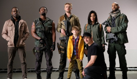 sterling brown, trevante rhodes, boyd holbrook, olivia munn, keegan key, jacob tremblay, director shane black _THE PREDATOR
