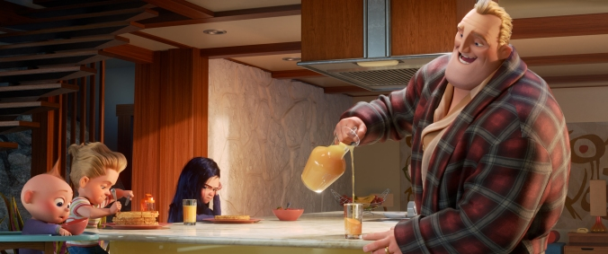 """HE'S GOT THIS – Bob Parr aka Mr. Incredible attempts his most heroic feat yet: spearheading life at home with Violet, Dash and baby Jack-Jack, whose super powers are about to be discovered by his family. Written and directed by Brad Bird and produced by John Walker and Nicole Paradis Grindle, Disney•Pixar's """"Incredibles 2"""" busts into theaters on June 15, 2018. ©2018 Disney•Pixar. All Rights Reserved."""