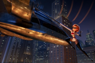 """A BIT OF A STRETCH – Elastigirl is called on to lead a campaign to bring Supers back in """"Incredibles 2""""—a mission that involves a helicopter chase among other Incredible stunts. Featuring Holly Hunter as the voice of Helen aka Elastigirl, """"Incredibles 2"""" opens in U.S. theaters on June 15, 2018. ©2018 Disney•Pixar. All Rights Reserved."""