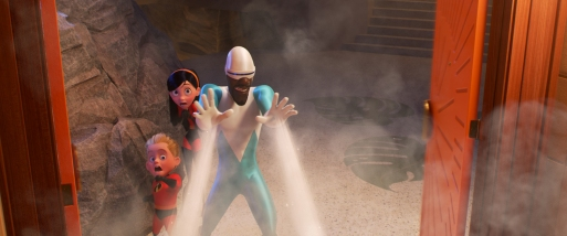 """CHILLING OUT – Frozone is back in """"Incredibles 2,"""" cooler than ever and lending a helping hand when the Parrs need him most. Featuring the voices of Huckleberry Milner as Dash, Sarah Vowell as Violet ad Samuel L. Jackson as Frozone aka Lucius Best, """"Incredibles 2"""" opens in U.S. theaters on June 15, 2018. ©2018 Disney•Pixar. All Righs Reserved."""