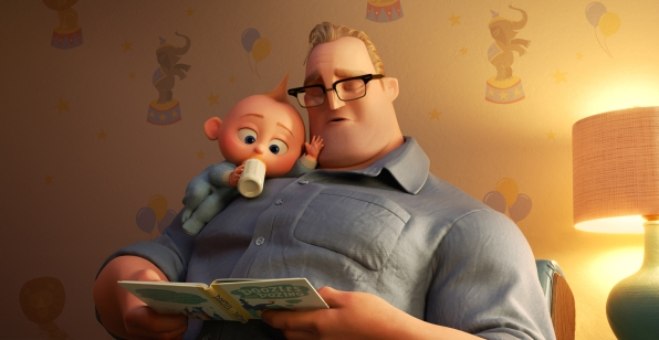 "BEDTIME STORY – In ""Incredibles 2,"" Bob navigates life at home with the Parr kids while Helen leads a campaign to bring back Supers. But when baby Jack-Jack shows some surprising changes - including the appearance of a few unexpected super powers—Bob finds that it's challenging to keep up (and awake), even for Mr. Incredible. Featuring Craig T. Nelson as the voice of Bob, Disney-Pixar's ""Incredibles 2"" opens in U.S. theaters on June 15, 2018. ©2018 Disney•Pixar. All Rights Reserved."