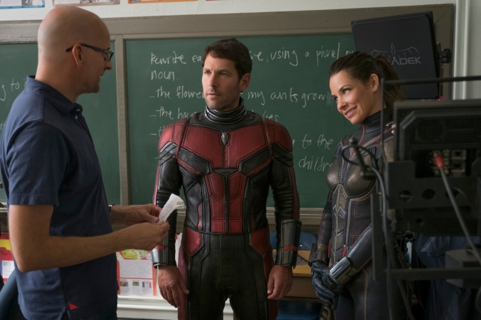 Marvel Studios ANT-MAN AND THE WASP..L to R: Director Peyton Reed, Paul Rudd (Ant-Man/Scott Lang) and The Wasp/Hope van Dyne (Evangeline Lilly) BTS on set. ..Photo: Ben Rothstein..©Marvel Studios 2018