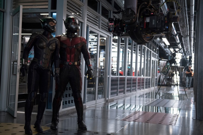 Marvel Studios ANT-MAN AND THE WASP..L to R: The Wasp/Hope van Dyne (Evangeline Lilly) and Ant-Man/Scott Lang (Paul Rudd) BTS on set. ..Photo: Ben Rothstein..©Marvel Studios 2018