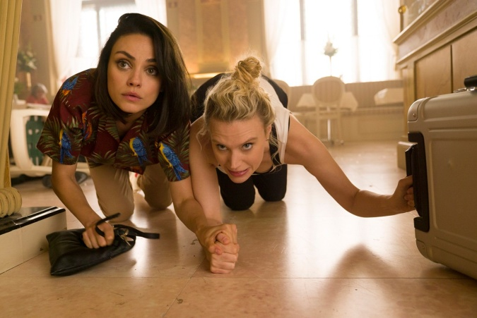 """Mila Kunis as """"Aubrey"""" and Kate McKinnon as """"Morgan"""" in THE SPY WHO DUMPED ME."""