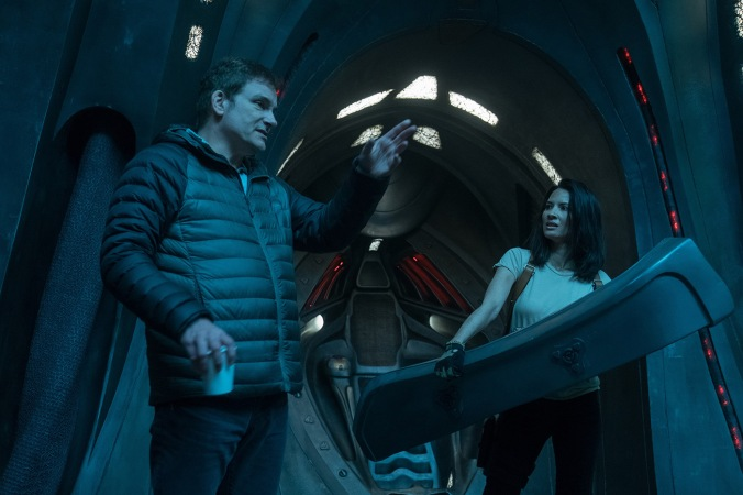 "Director Shane Black and Olivia Munn on the set of ""Twentieth Century Fox's ""The Predator."""