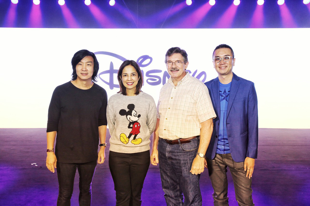 Kenneth Cobonpue, TWDC PH Country Manager Veronica Cabalinan, Legendary Disney artist Mark Henn, and TEDC SEA Media Networks Marketing Director Daniel Tan