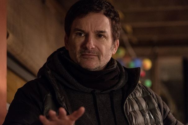 "Director Shane Black on the set of ""Twentieth Century Fox's ""The Predator."""