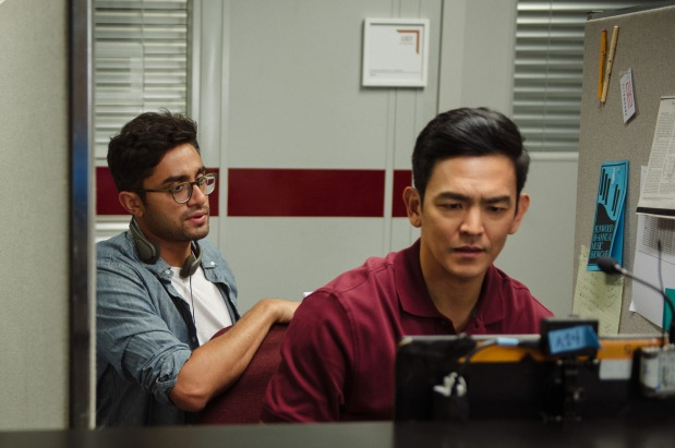 Director/writer Aneesh Chaganty and John Cho on the set of Screen Gems' SEARCHING.