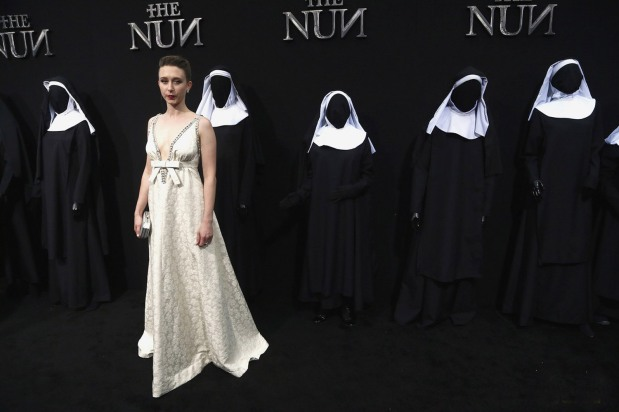 """HOLLYWOOD, CA - SEPTEMBER 04: Taissa Farmiga attends the Premiere Of Warner Bros. Pictures' """"The Nun"""" at TCL Chinese Theatre on September 4, 2018 in Hollywood, California. (Photo by Tommaso Boddi/Getty Images)"""