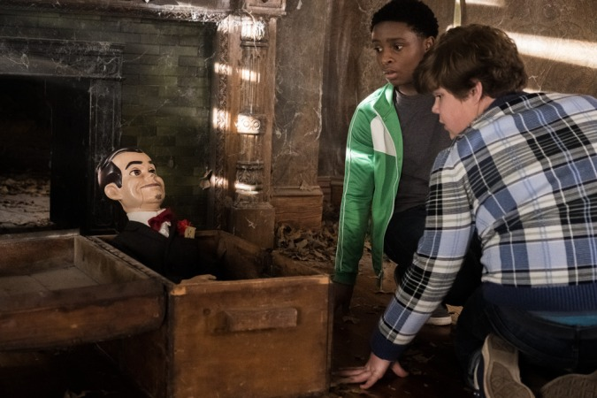 "Sonny (Jeremy Ray Taylor, right) and Sam (Caleel Harris) find ""Slappy"" in an abandoned house in Columbia Pictures' GOOSEBUMPS 2; HAUNTED HALLOWEEN."