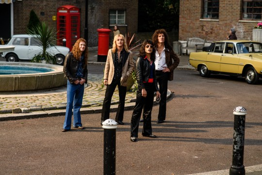 "L-r, Joseph Mazzello as John Deacon, Ben Hardy as Roger Taylor, Rami Malek as Freddie Mercury and Gwilym Lee as Brian May star in Twentieth Century Fox's ""Bohemian Rhapsody."""