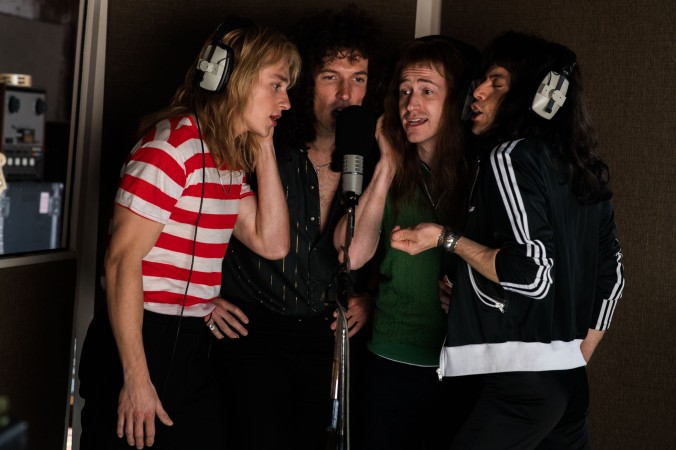 "L-r, Ben Hardy as Roger Taylor, Gwilym Lee as Brian May, Joseph Mazzello as John Deacon and Rami Malek as Freddie Mercury star in Twentieth Century Fox's ""Bohemian Rhapsody."""