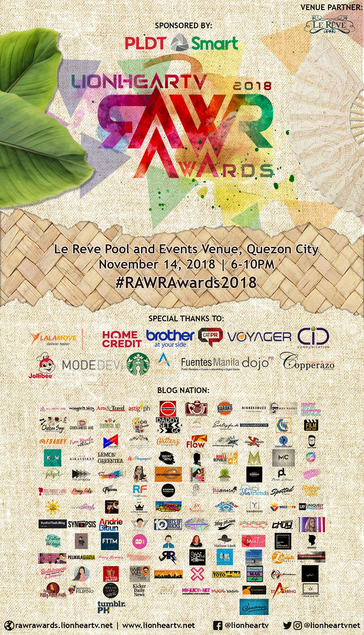 RAWR Awards 2018 poster updated 10-19-18