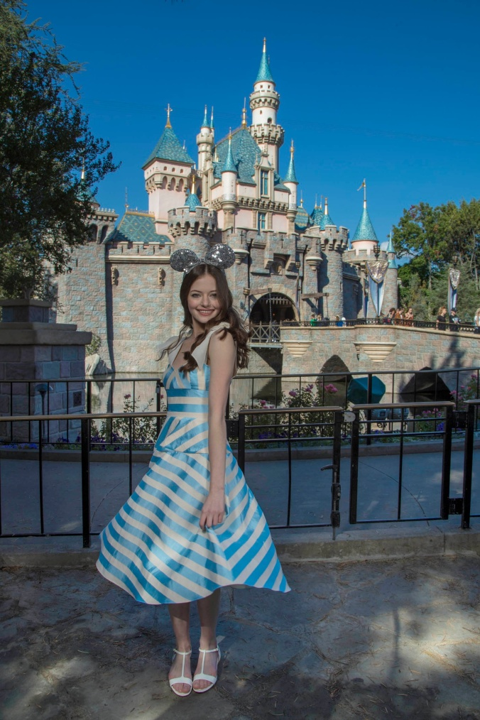 "Actress Mackenzie Foy, star of Disney's ""The Nutcracker and the Four Realms,"" celebrates the film's sneak peek at Disneyland Resort in Anaheim, Calif., Oct. 4, 2018. A 12-minute preview of ""The Nutcracker and the Four Realms"" begins Friday, Oct. 5, at Disney California Adventure in Anaheim, Calif. and at Disney's Hollywood Studios in Lake Buena Vista, Fla. (Joshua Sudock/Disneyland Resort)"