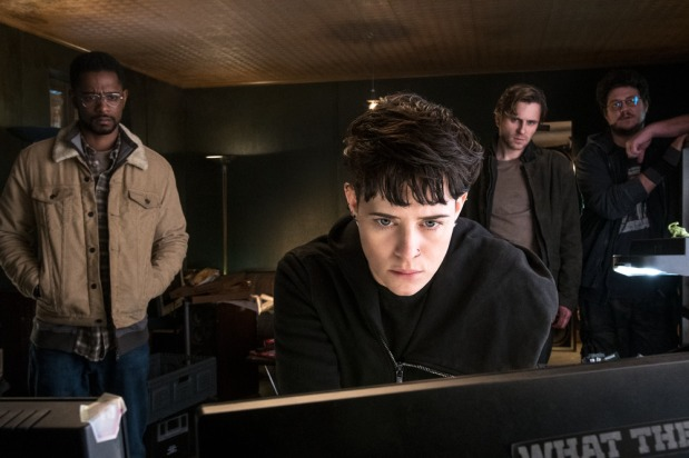 Ed Needham (Lakeith Stanfield) Lisbeth Salander (Claire Foy) Mikael Blomkvist (Sverrir Gudnason) and Plague (Cameron Britton) in Columbia Pictures' THE GIRL IN THE SPIDER''S WEB.