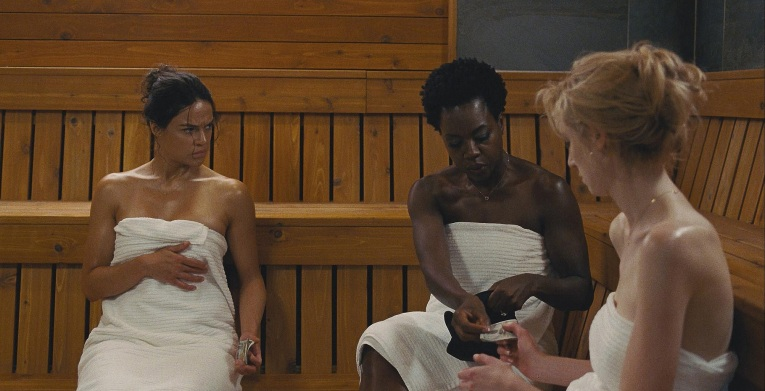 "L-r, Michelle Rodriguez, Viola Davis and Elizabeth Debicki star in Twentieth Century Fox's ""Widows."""