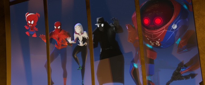 Spider-Ham (John Mulaney) Peter Parker (Jake Johnson), Spider-Gwen (Hailee Steinfeld), Spider-Man Noir (Nicolas Cage), and SP//DR in Columbia Pictures and Sony Pictures Animation's SPIDER-MAN: INTO THE SPIDER-VERSE.