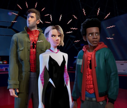 Peter Parker (Jake Johnson), Gwen Stacy (Hailee Steinfeld) and Miles Morales (Shameik Moore) in Sony Pictures Animation's SPIDER-MAN: INTO THE SPIDER-VERSE.