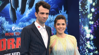 "Mandatory Credit: Photo by Phil Mccarten/Invision/AP/REX/Shutterstock (10100419af) Jay Baruchel, America Ferrera. Cast members Jay Baruchel, left, and America Ferrera attend the premiere of ""How to Train Your Dragon: The Hidden World"" at the Regency Village Theatre, in Los Angeles LA Premiere of ""How to Train Your Dragon: The Hidden World"", Los Angeles, USA - 09 Feb 2019"