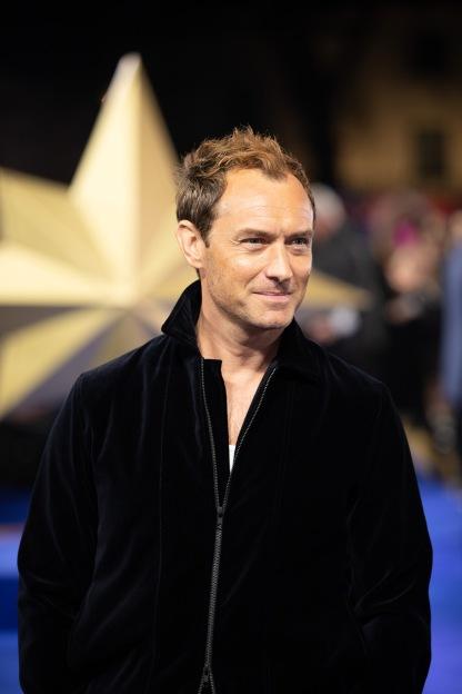 "Jude Law attends the UK Gala Screening of Marvel Studios' ""Captain Marvel"" on February 27, 2019 in London, UK (Photo by StillMoving.net for Disney)"