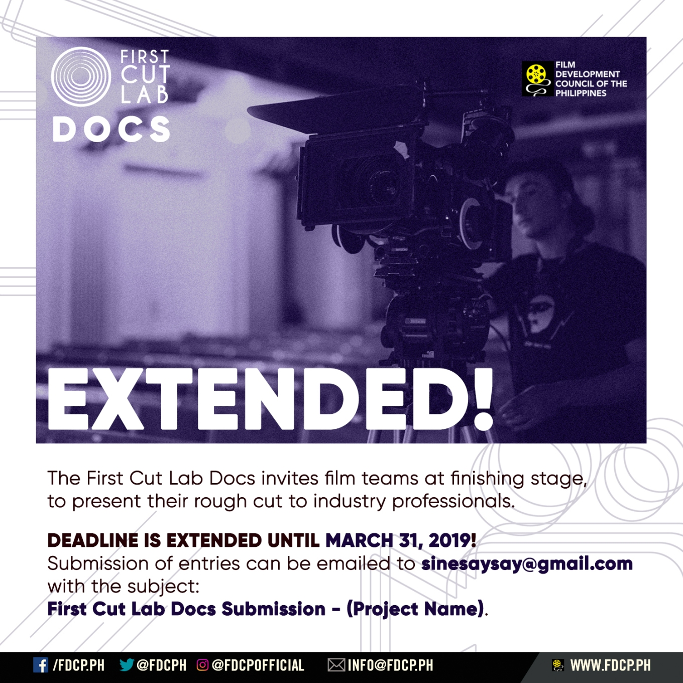 First Cut Lab Docs Deadline Extension
