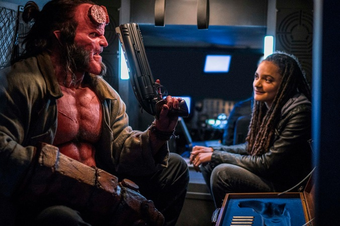 David Harbour as 'Hellboy' and Sasha Lane as 'Alice Monoghan' in HELLBOY. Photo Credit: Mark Rogers.