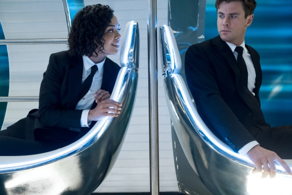 Agent M (Tessa Thompson) and Agent H (Chris Hemsworth) riding the Marrakesh Hyperloop in Columbia Pictures' MEN IN BLACK: INTERNATIONAL.