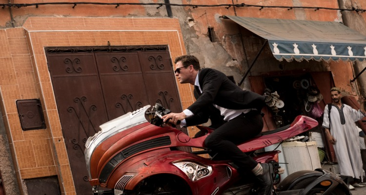 On the set of Columbia Pictures' MEN IN BLACK: INTERNATIONAL with Chris Hemsworth on the hover bike in Marrakech Market Street in Kabash, Morocco.