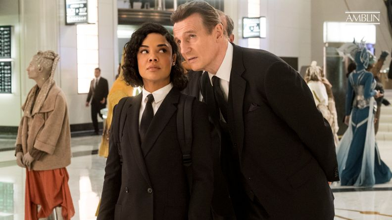 Em (Tessa Thompson) meets High T (Liam Neeson) in MIB London in Columbia Pictures' MEN IN BLACK: INTERNATIONAL.