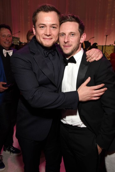 WEST HOLLYWOOD, CA - FEBRUARY 24: Taron Egerton (L) and Jamie Bell attend the 27th annual Elton John AIDS Foundation Academy Awards Viewing Party sponsored by IMDb and Neuro Drinks celebrating EJAF and the 91st Academy Awards on February 24, 2019 in West Hollywood, California. (Photo by Michael Kovac/Getty Images for EJAF)