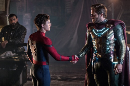 (l to r) Numan Acar, Tom Holland and Jacky Gyllenhaal in Columbia Pictures' SPIDER-MAN: ™ FAR FROM HOME