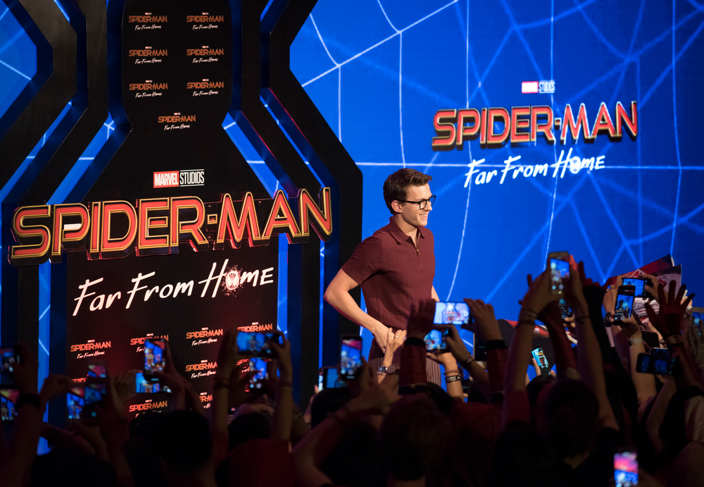 DENPASAR, BALI, INDONESIA - MAY 27: Tom Holland with fans during the Spider-Man: Far From Home Pan-Asian Media Summit Bali fan event on May 27, 2019 in Denpasar, Bali, Indonesia.