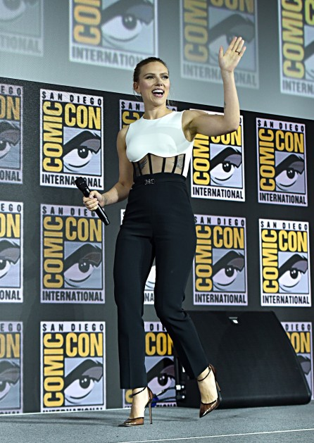 SAN DIEGO, CALIFORNIA - JULY 20: Scarlett Johansson of Marvel Studios' 'Black Widow' at the San Diego Comic-Con International 2019 Marvel Studios Panel in Hall H on July 20, 2019 in San Diego, California. (Photo by Alberto E. Rodriguez/Getty Images for Disney)
