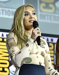 SAN DIEGO, CALIFORNIA - JULY 20: Florence Pugh of Marvel Studios' 'Black Widow' at the San Diego Comic-Con International 2019 Marvel Studios Panel in Hall H on July 20, 2019 in San Diego, California. (Photo by Alberto E. Rodriguez/Getty Images for Disney)