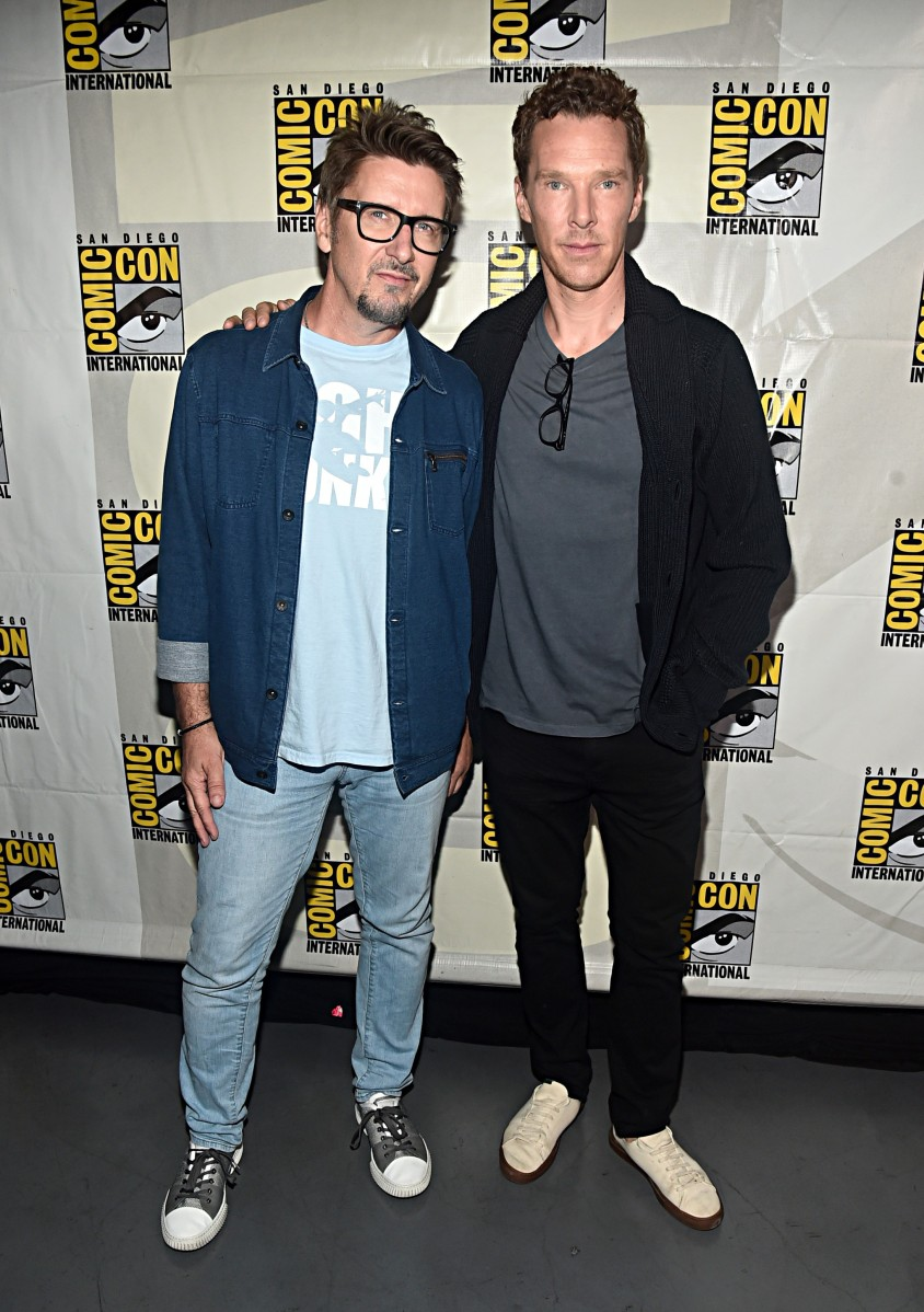 SAN DIEGO, CALIFORNIA - JULY 20: Director Scott Derrickson and Benedict Cumberbatch of Marvel Studios' 'Doctor Strange in the Multiverse of Madness' at the San Diego Comic-Con International 2019 Marvel Studios Panel in Hall H on July 20, 2019 in San Diego, California. (Photo by Alberto E. Rodriguez/Getty Images for Disney)