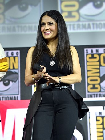 SAN DIEGO, CALIFORNIA - JULY 20: Salma Hayek of Marvel Studios' 'The Eternals' at the San Diego Comic-Con International 2019 Marvel Studios Panel in Hall H on July 20, 2019 in San Diego, California. (Photo by Alberto E. Rodriguez/Getty Images for Disney)
