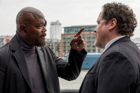 Samuel L. Jackson and Jon Favreau in Columbia Pictures' SPIDER-MAN: ™ FAR FROM HOME.
