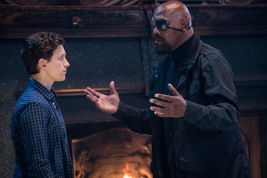Tom Holland and Samuel L. Jackson star in Columbia Pictures' SPIDER-MAN: ™ FAR FROM HOME