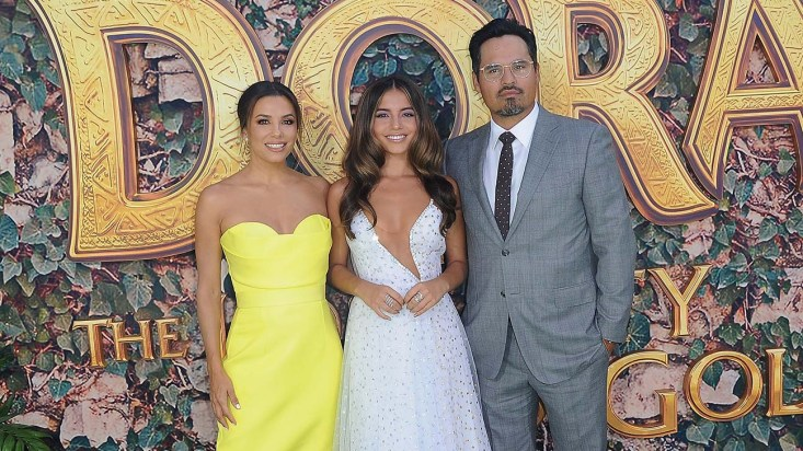 "LOS ANGELES, CA - JULY 28: Eva Longoria, Isabela Moner and Michael Pena attend the LA Premiere Of Paramount Pictures' ""Dora And The Lost City Of Gold"" held at Regal Cinemas L.A. Live on July 28, 2019 in Los Angeles, California. (Photo by Albert L. Ortega/Getty Images)"