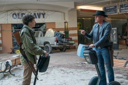 Columbus (Jesse Eisenberg) and Tallahasse (Woody Harrelson) in Columbia Pictures' ZOMBIELAND: DOUBLE TAP.