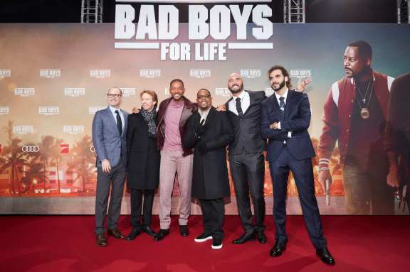 "BERLIN, GERMANY - JANUARY 07: (L-R) Doug Belgrad, Jerry Bruckheimer, Will Smith, Martin Lawrence, Bilall Fallah and Adil El Arbi attend the Berlin premiere of ""Bad Boys For Life"" at Zoo Palast on January 07, 2020 in Berlin, Germany. (Photo by Sebastian Reuter/Getty Images for Sony Pictures)"