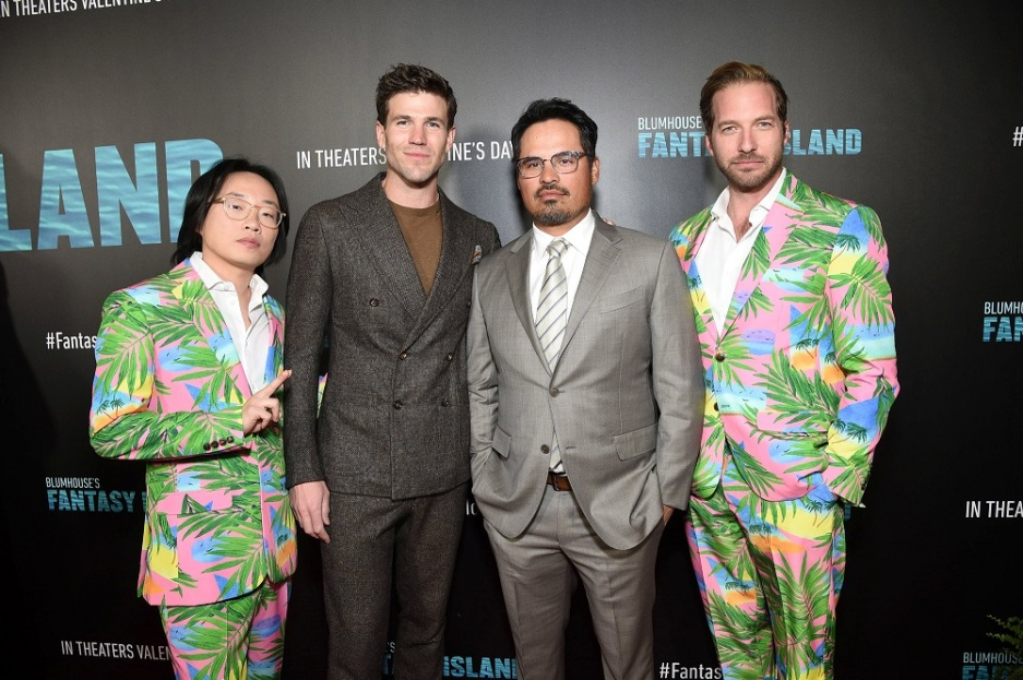 Century City, CA - February 11, 2020: Jimmy O. Yang, Austin Stowell, Michael Peña and Ryan Hansen at the Los Angeles premiere of Columbia Pictures' BLUMHOUSE'S FANTASY ISLAND.